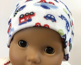 "15 inch Bitty Baby Doll Hat, Cute ""MATCHBOX CARS-Trains-Planes"" Doll HAT, 15 inch Bitty Baby Clothes or Twin Doll, 15 inch Baby Doll Clothes"