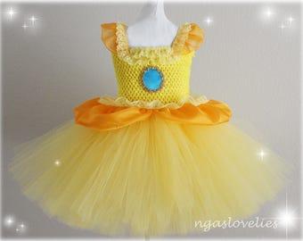 Princess Peach Sister Daisy Inspired Dress - Super Mario-  tutu dress- baby tutu dress- kids costume - halloween party