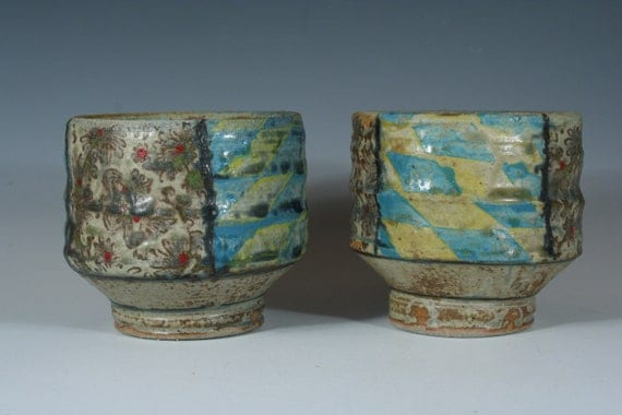 Blue and Yellow Tea Bowls, set of 2