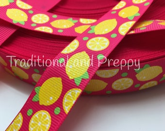 3 yards Preppy Glitter Lemon on Hot pink grosgrain