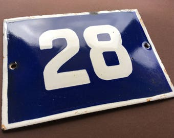 Vintage Antique French Enamel Porcelain Sign Street House Number Door Wall Plate 28 Blue 1950's