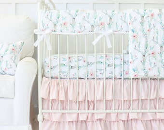 Desert Cactus Girl Crib Set | Girl Cactus Crib Bedding, Pink and Aqua | Watercolor Girl Baby Bedding | Cactus Nursery
