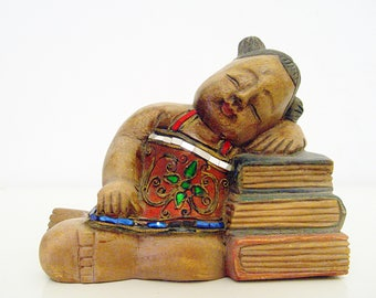 Vintage, Oriental Wooden Sculpture, Hand Carved, Girl Wooden Figure, Oriental Sculpture.