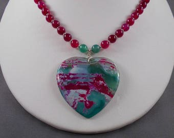 Pink and Green Agate Heart Pendant Necklace and Earring Set