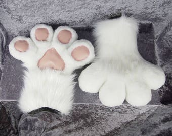 White Puffy Hand Paws - Furry, Fluffy Fursuit Paws, Cosplay, Toony Costume, Ready to Ship