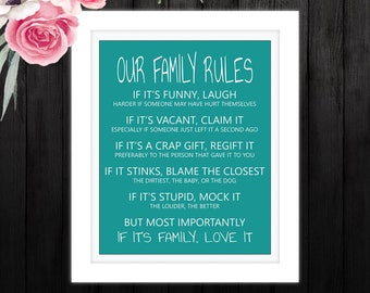 DIY Digital File - Family Rules Print - Family Wall Art - Family Wall Decor - Funny Family Rules Canvas!
