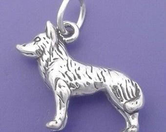 SIBERIAN HUSKY Charm .925 Sterling Silver Alaskan Malamute Sled Dog Pendant -  lp2317