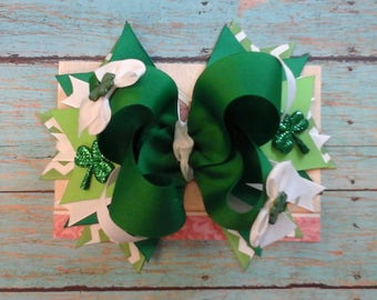 St. Patrick's Day Green/White Large Stacked Boutique Bow