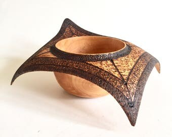Sycamore Wooden Winged bowl,handmade woodturning hand carved, pyrography