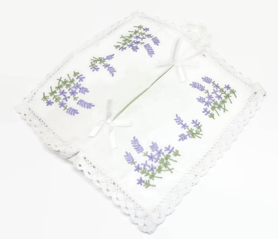 Embroidered tissue box cover, purple embroidered flowers with green leaves on white cotton with lace trim
