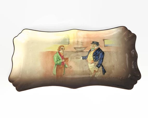 Royal Doulton Captain Cuttle serving plate, Charles Dickens character series, larger size, embossed, pattern D6833, England, circa 1930s