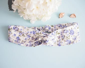 Head band style pinup double blue floral - Vintage / retro