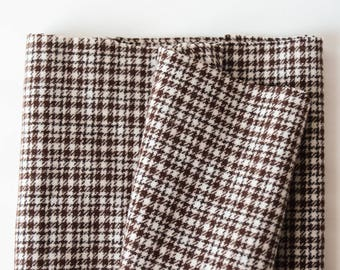 "2/3 yard Vintage Wool Check Fabric 1950s 60"" wide- B12W"