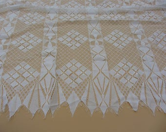 "59"" eyelash square  lace fabric  , Chantilly Eyelash ivory white Lace Fabric by yard   for Wedding Gowns, Bridal Veils"