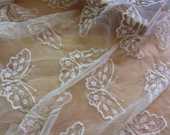 "Beige Embroidery Lace Fabric sell by yard , skirt Lace , 49"" Wide butterfly Lace fabric  for Wedding Dress,Bridal Veil,Craft Making"