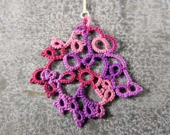 Gram Stain Pendant - handmade tatted lace