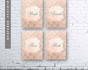 French Damask Bathroom Prints-Set of Four (4).Instant Download. Wash Brush Floss Flush French Bathroom. French Bathroom Decor. Damask. Taupe