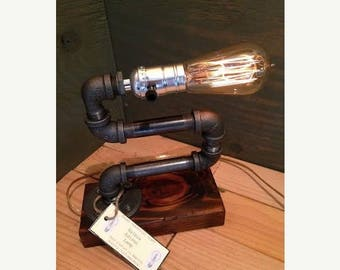 30% OFF SALE Industrial Lighting - Steampunk Lamp - Table Lamp - Edison Light - Vintage Light - Pipe Lamp - Bedside Lamp - Rustic Lighting -