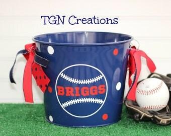 Personalized Baseball Softball Easter Basket Easter Egg Hunt  Monogrammed Easter Pail Sports Theme Easter Pail Personalized Easter Bucket