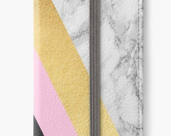 Folio Wallet Case for iPhone 8 Plus, iPhone 8, iPhone 7, iPhone 6 Plus, iPhone SE, iPhone 6, iPhone 5s - Black, Pink & Gold Marble Design