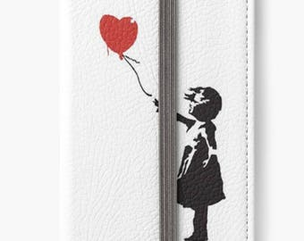 Folio Wallet Case for iPhone 8 Plus, iPhone 8, iPhone 7, iPhone 6 Plus, iPhone SE, iPhone 6, iPhone 5s The girl with the red balloon Banksy