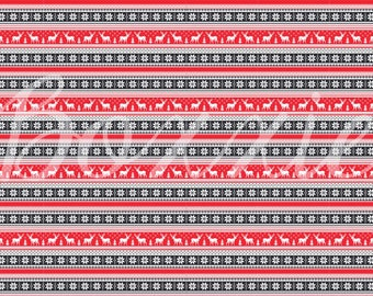 Red and black Nordic reindeer sweater wrapping paper sheets Christmas gift wrap GW3612