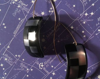 Upcycled 35mm film cassette drop earrings - DX Codes
