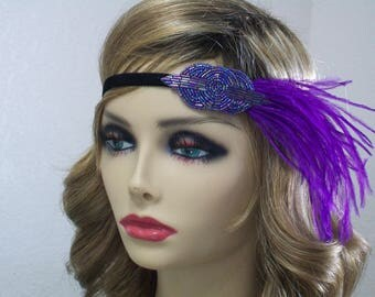 Purple 1920s headband, Flapper headpiece, Roaring 20s dress, Gatsby headband, Hollywood Star, Gatsby party, 1920s costume, roaring 20s,