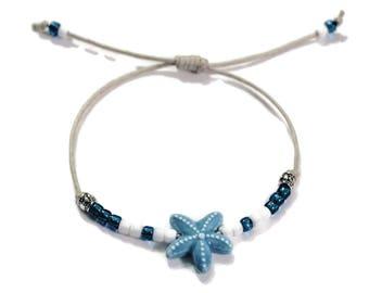 Starfish adjustable Waxed Cord Bracelet,Starfish Bracelet, Starfish Anklet, Starfish Jewelry, Beach Bracelet, Sliding Knot bracelet