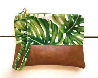 9x7 | Monstera | Faux Leather Clutch, Makeup Bag, Vegan, Leather, Wristlet, Purse, Camel, Fold Over Clutch, Hawaii, Tropical, Floral