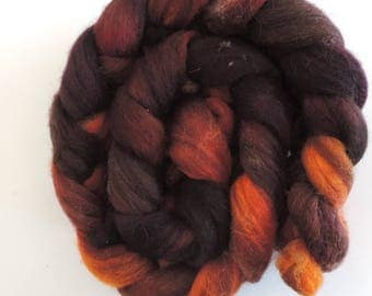 Shetland multicolor,Oak and Alder, 115g top, Kammzug, handgefärbte Fasern zum Spinnen und Filzen