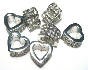5pcs Silver Tone Heart Slider European Spacer Beads with Clear Rhinestone12mm