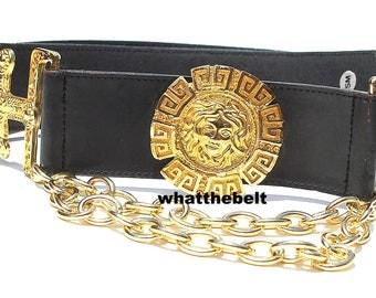 Vintage Belt MEDUSA Black Leather with Gold Metal Conchos Medusa Dangling Chains