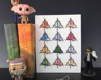 Deathly Hallows Stylized Print Inspired by Harry Potter and the Tale of Three Brothers Peverell