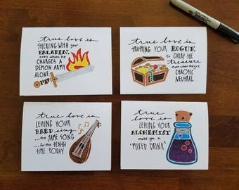 RPG true love: set of FOUR hand-doodled cards