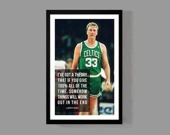 Larry Bird Quote Poster Basketball Print - Success - Inspirational, Sports, Motivation, Boston, Celtics, faith, Icon, NBA