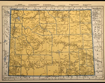 Wyoming map etsy wyoming map wyoming beige blue original vintage 1930s 1936 sciox Image collections