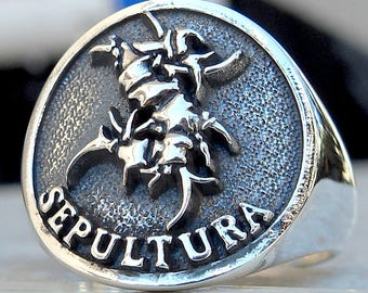 Heavy 3D Sepultura Ring Solid Sterling Silver 925