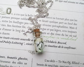 """silver necklace vial of magic """"unicorn horns"""""""