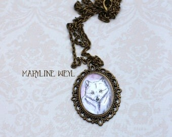 Cabochon glass Silver Fox necklace