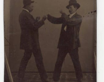 Antique Victorian Era Tintype Photograph Men Boxing Bare Knuckle Unusual Strange