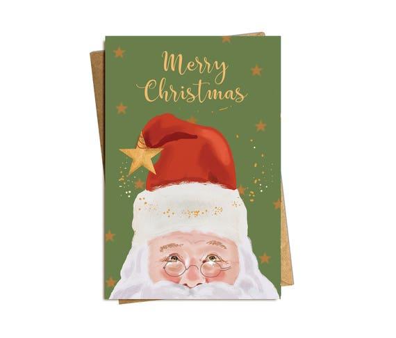 Christmas Card. Santa and The Stars