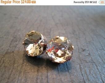 Vintage Rose Swarovski Earrings/Pink Swarovski Studs/Oxidized Copper Studs/Statement Earrings/Square Crystal Studs/Fall Wedding