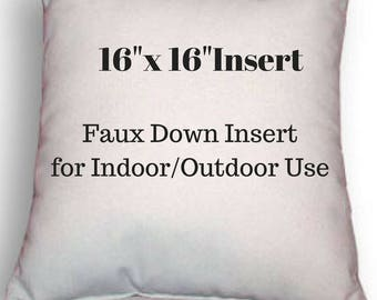 """Pillow Form - 16"""" x 16"""" Pillow Insert - Indoor or Outdoor Use - Faux Down Insert for Your Patio or Home Decor Use"""