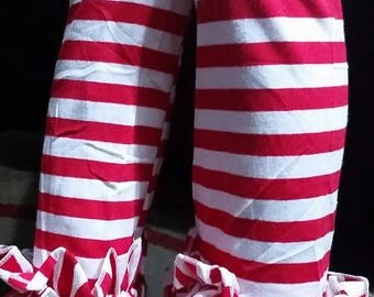 Red  striped ruffle leggings