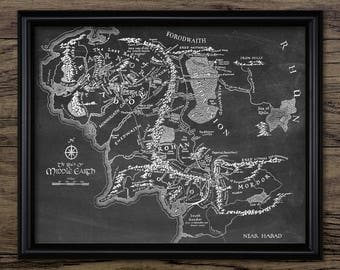 Lord Of The Rings Wall Art - Middle Earth Map - Lord Of The Rings Fantasy Map - Mordor - Gondor - Hobbit - Gandalf #2534 - INSTANT DOWNLOAD