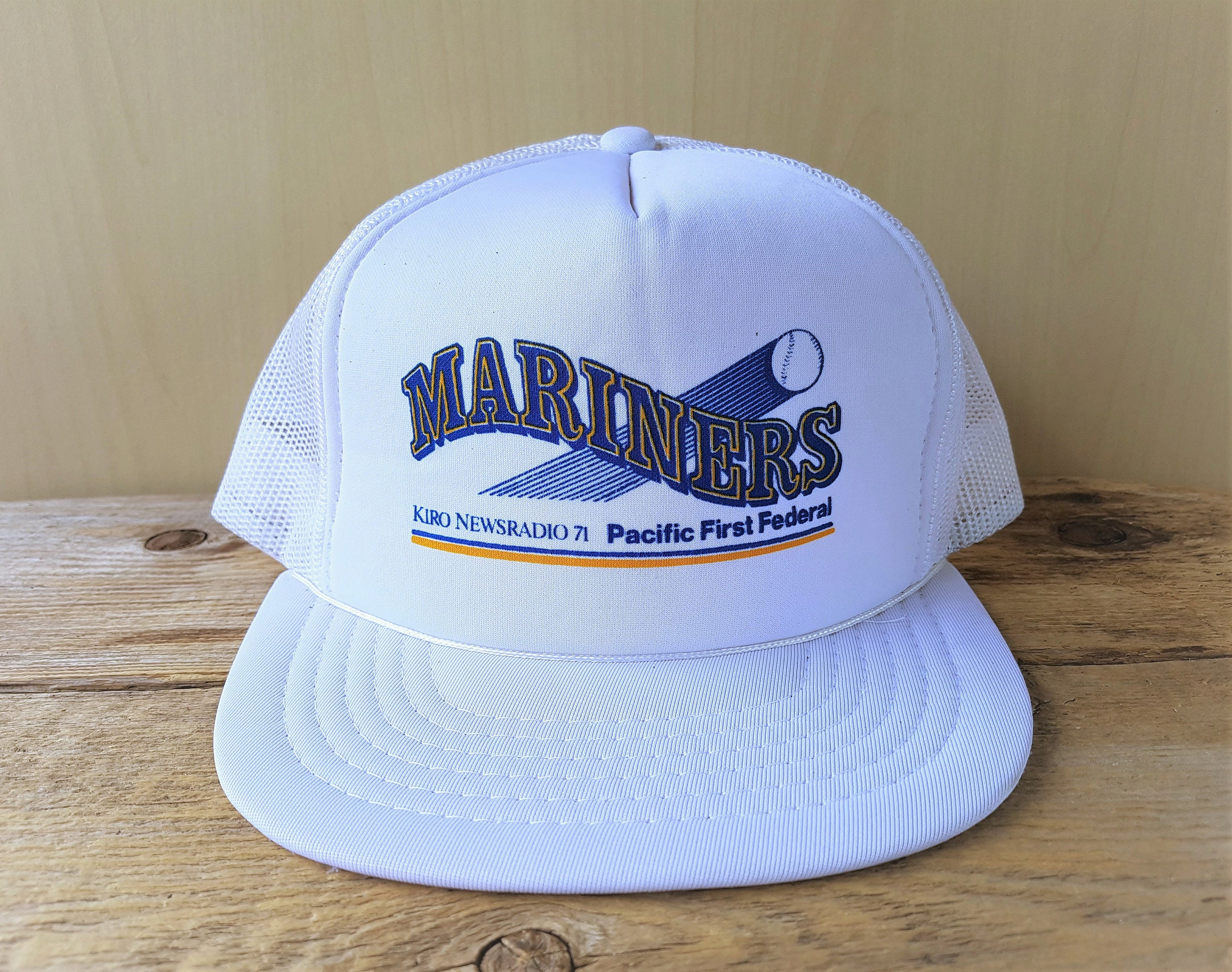 bf7bf7c118eaa ... reduced seattle mariners original vintage 80s trucker snapback hat kiro  newsradio 71 pacific first federal savings
