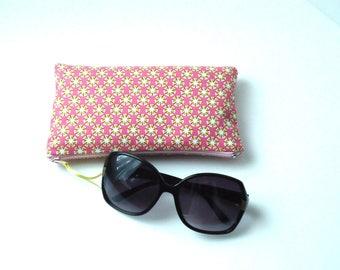 Pink cotton glasses case
