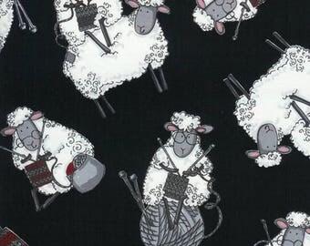 Knitting Sheep Fabric; You Choose Size; C7587 Timeless Treasures; Novelty Fabric; Knitting Fabric; Do Ewe Knit?