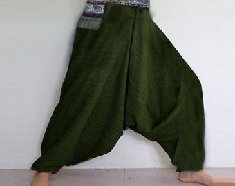Rough cotton harem pants in a natural. Olive.